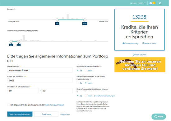Screenshot des Auto-Invest von Mintos