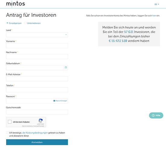 Screenshot Registrierung von Mintos